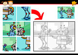 cartoon robots jigsaw puzzle game
