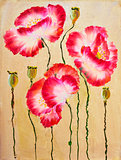 Red poppies. Oil painting