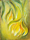 Exotic flowers. Oil painting