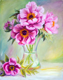 Peonies in vase, oil painting on canvas