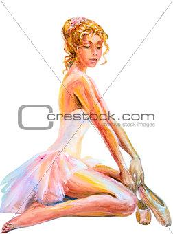 Beautiful sitting ballerina. Oil painting.