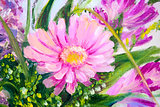 Flowers, oil painting on canvas