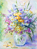 Wildflowers  in vase, oil painting on canvas