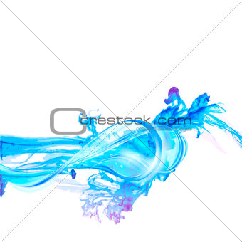 Abstract blue water splash isolated on white background.