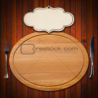 Cutting Board with Cutlery and Label