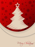 Red christmas greeting card with scribbled tree and hexagon back