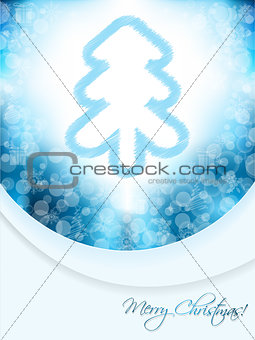 Blue christmas greeting card with scribbled tree and bubble back