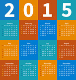 Calendar 2015 year in flat color