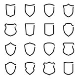Set of different shield outline icons
