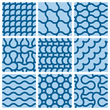 Set of nine monochrome geometrical patterns
