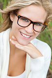 Blond Woman Girl Wearing Geek Glasses