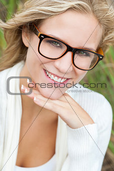 Blond Woman Girl Wearing Geek Glasses