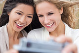 Two Young Women Girls Taking Selfie Photograph