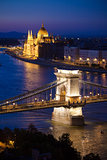 Budapest cityscape sunset with Chain Bridge in front over Danube