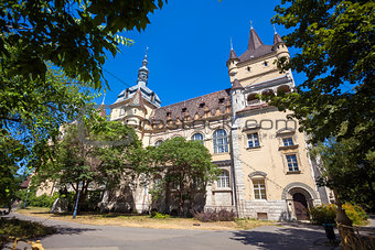 Vajdahunyad Castle view on a sunny day, Budapest