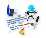 Robot with tools and program source code. Technology concept. Isolated. Contains clipping path
