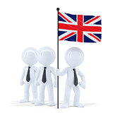 Business team holding flag of UK. Isolated. Contains clipping path