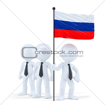 Business team holding flag of Russia. Isolated. Contains clipping path