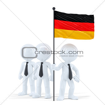 Business team holding flag of Germany. Isolated. Contains clipping path