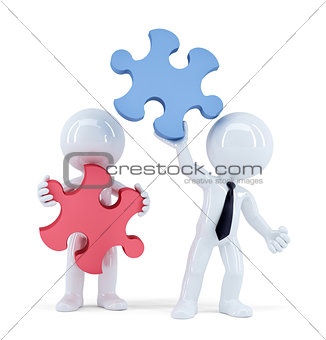 Business people with pieces of puzzle. Teamwork concept. Isolated. Contains clipping path
