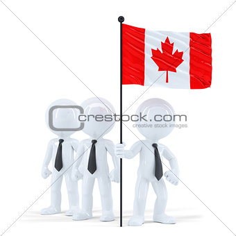 Business team holding flag of Canada. Isolated. Contains clipping path