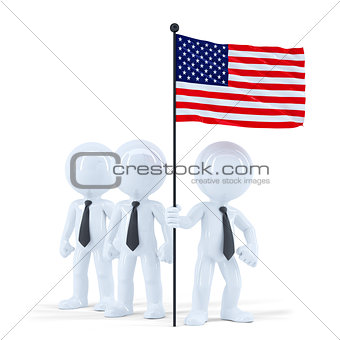 Business team holding flag of USA. Isolated. Contains clipping path