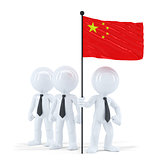 Business team holding flag of China. Isolated. Contains clipping path