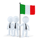 Business team holding flag of Italy. Isolated. Contains clipping path