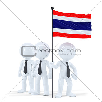 Business team holding flag of Thailand. Isolated. Contains clipping path