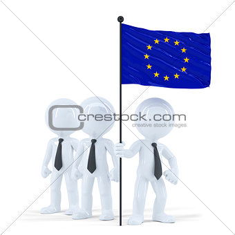Business team holding flag of European Union. Isolated. Contains clipping path