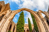 Arch and columns at Bellapais Abbey. Kyrenia. Cyprus