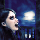 Vampire on night balcony