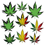 Set of cannabis and marijuana product symbol stamps vector