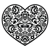 Polish black folk art heart pattern on white - wzory lowickie, wycinanka