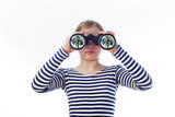 girl and a pair of binoculars