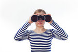 girl and a pair of binoculars,