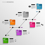 Time line info graphic colored square template