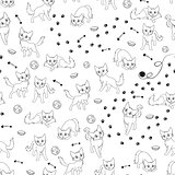 Cartoon cats seamless pattern