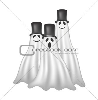 Three ghosts with black hats