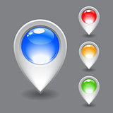 Set of white map pointer icon.