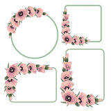 Set of floral frame with pink poppies.