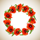 Wreath of Red Poppies, floral round frame