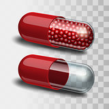 Two Red and transparent pills - empty and with granules.