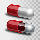 Red and white pill and red and transparent pill.