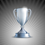 Silver trophy cup on grey background.