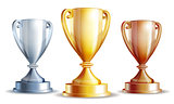 Vector gold, silver and bronze winners cup.