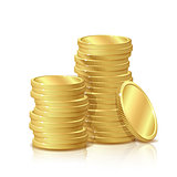 Stack of Gold Coins, isolated on white background, Concept Success in Business.