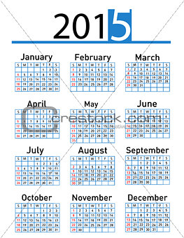 2015 year vector calendar