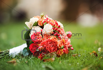 Bridal bouquet of various flowers.