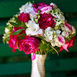 bouquet made of peony and freesia